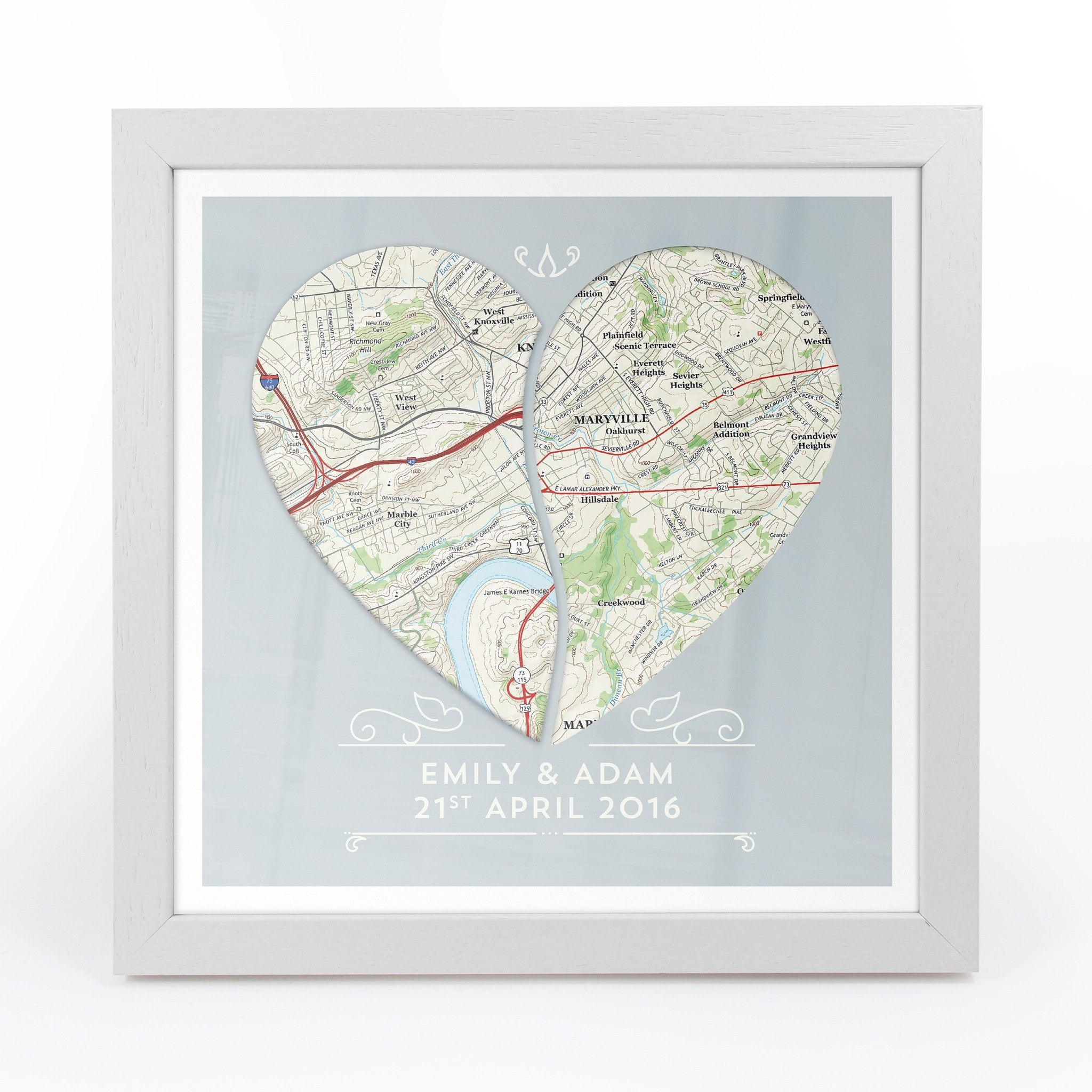 Twin Heart Personalized Framed Us Map Print