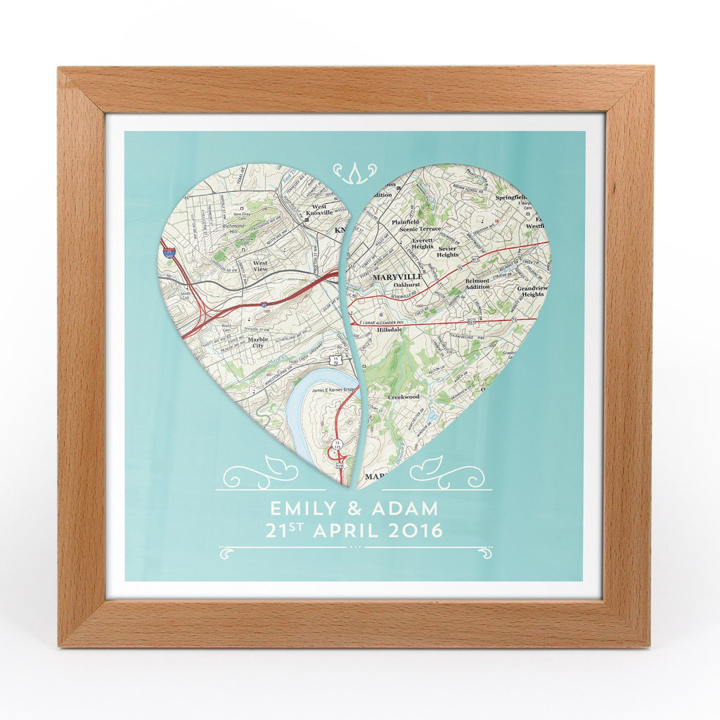 Twin Heart Personalized Framed US Map Print Butler And Hill UK - Framed us map