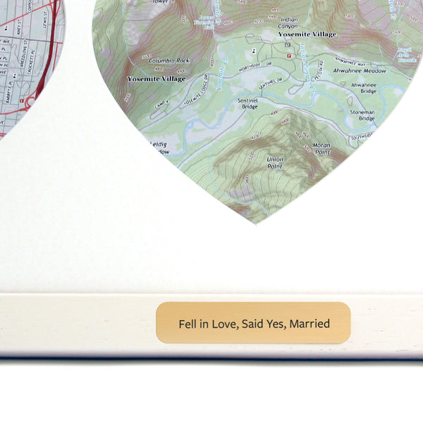 US Wall Map - Trio Of Personalized Framed US Map Hearts - USGS Mapping
