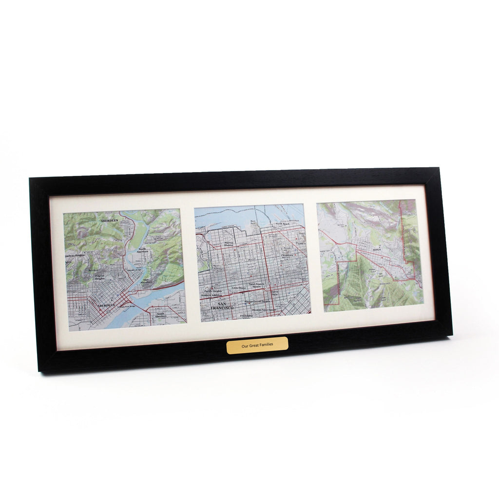 US Wall Map - Trio Of Personalized Framed US Map Squares - USGS Mapping