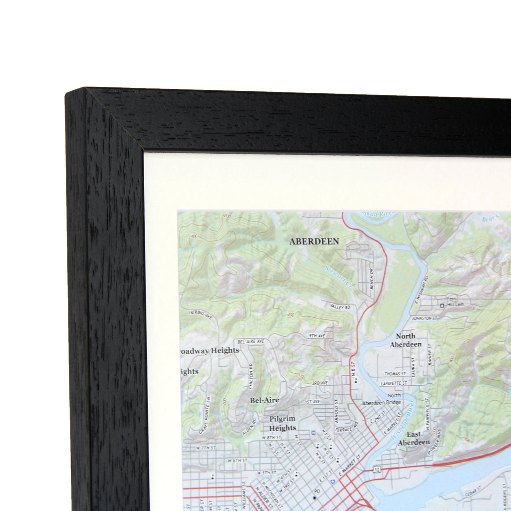 Trio Of Personalized Framed US Map Squares USGS Mapping - Framed us wall map