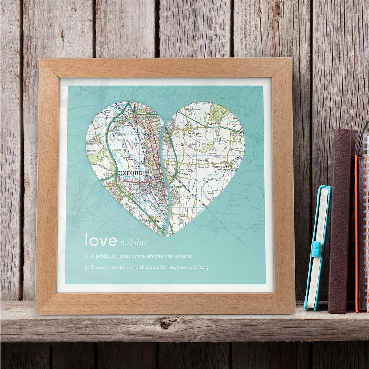 Joined Map Heart – Personalised Dictionary Definition Map Art - Love