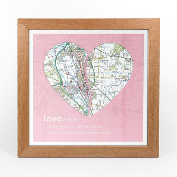 Wall Art - Joined Map Heart – Personalised Dictionary Definition Map Art - Love Joined Map Heart – Personalised Dictionary Definition Map Art - Love
