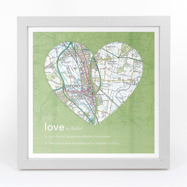 Wall Art - Joined Map Heart – Personalised Dictionary Definition Map Art - Love