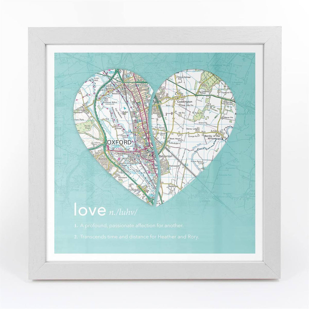 Joined Map – Personalised Dictionary Definition Map Art - Love on