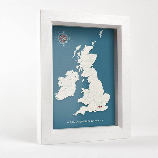 Wall Art - Personalised Box Frame UK Pin Map