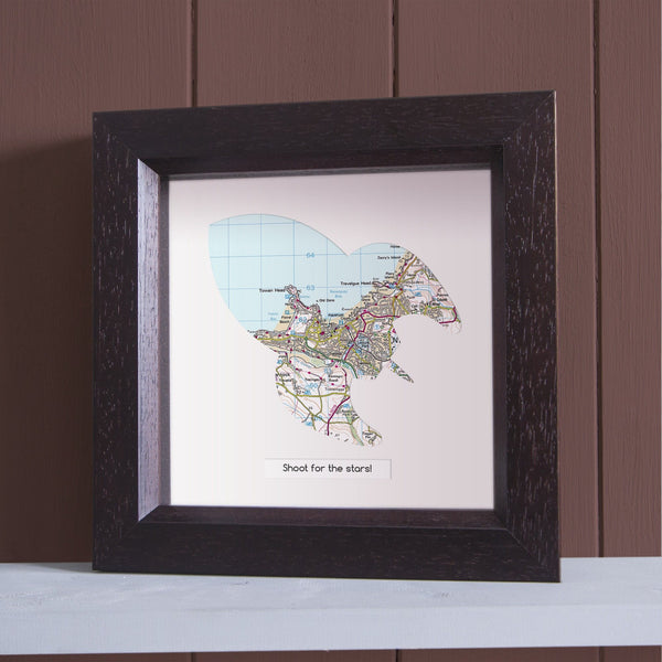 Wall Art - Personalised Deep Framed Rocket Map Personalised Deep Framed Rocket Map