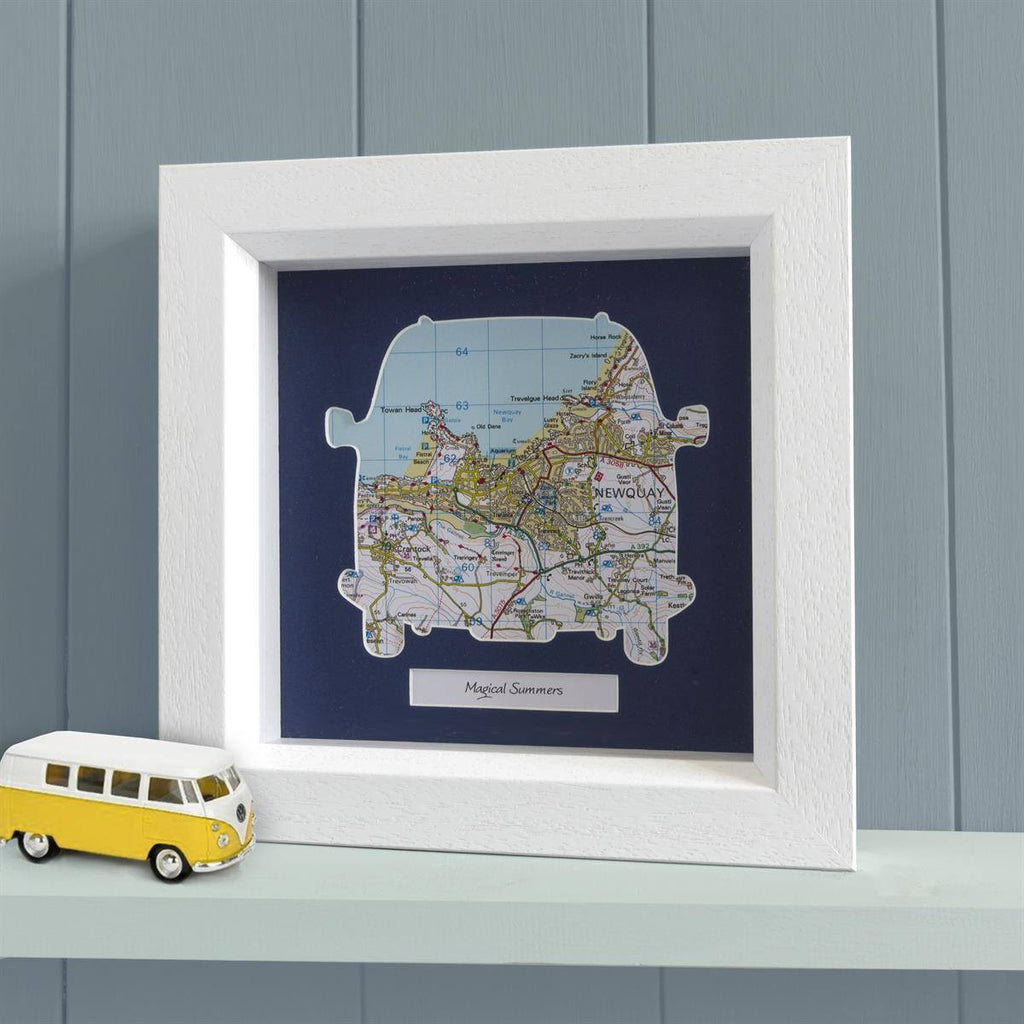 Framed Map Camper Van