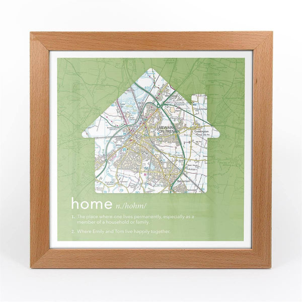 Wall Art - Personalised Framed Dictionary Definition Map - Home Personalised Framed Dictionary Definition Map - Home