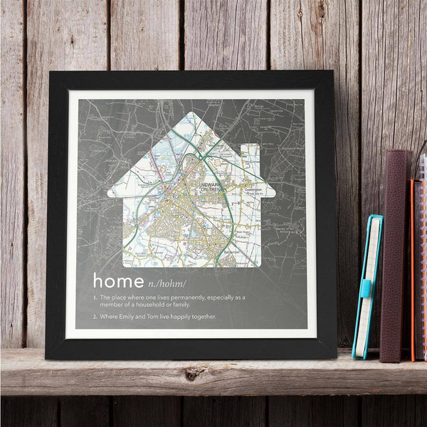 Wall Art - Personalised Framed Dictionary Definition Map - Home