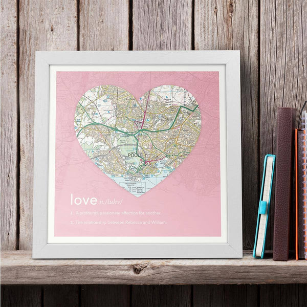 Wall Art - Personalised Framed Dictionary Definition Map - Love