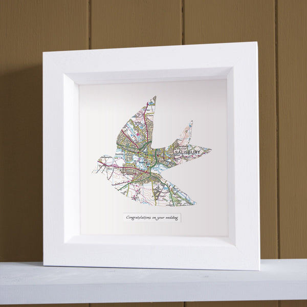 Wall Art - Personalised Framed Dove Map Personalised Framed Dove Map