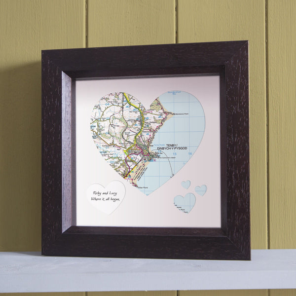 Wall Art - Personalised Framed Map Heart