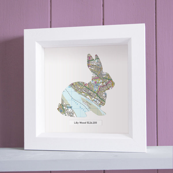 Wall Art - Personalised Framed Rabbit Map