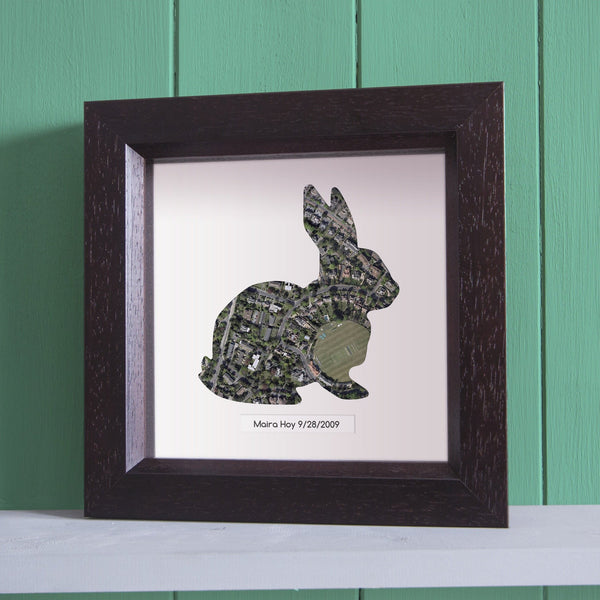 Wall Art - Personalised Framed Rabbit Map Personalised Framed Rabbit Map