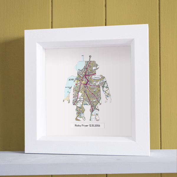 Wall Art - Personalised Framed Robot Map Personalised Framed Robot Map