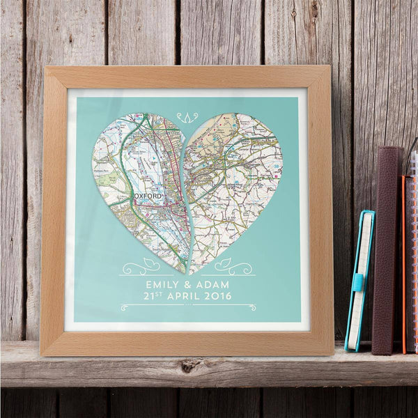 Wall Art - Personalised Joined Heart - Framed Map Print
