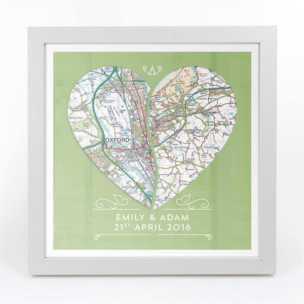 Wall Art - Personalised Joined Heart - Framed Map Print Personalised Joined Heart - Framed Map Print