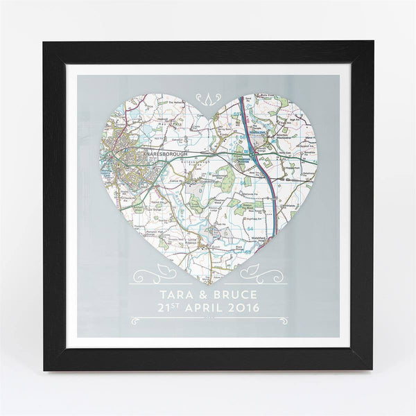 Wall Art - Single Heart – Personalised Map Art