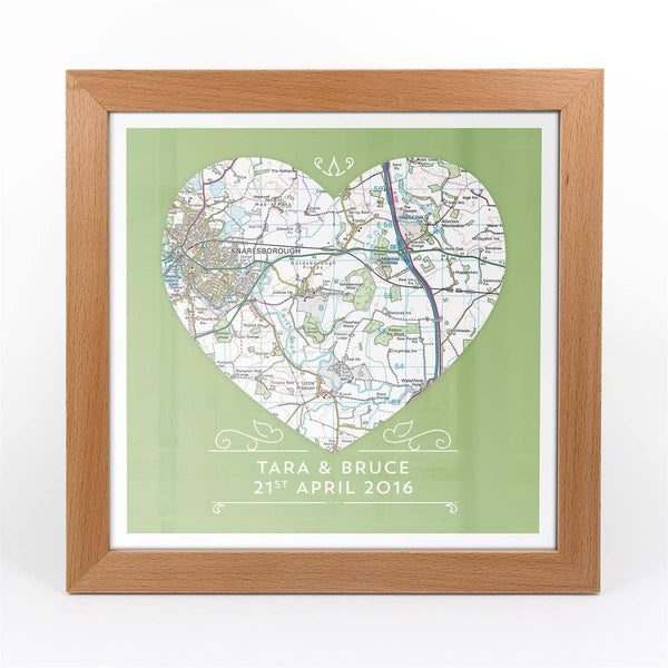 Wall Art - Single Heart – Personalised Map Art Single Heart – Personalised Map Art