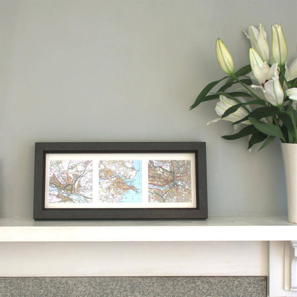 Wall Art - Trio Of Map Squares - Deep Box Frame Trio of Map Squares - Deep Box Frame