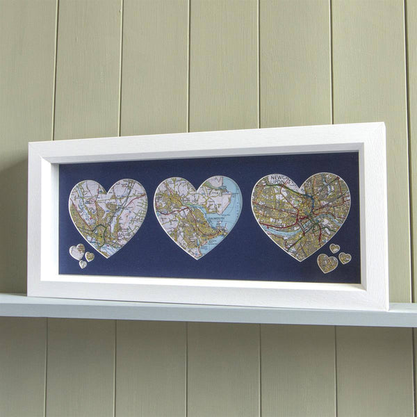Wall Art - Trio Of Personalised Framed Map Hearts