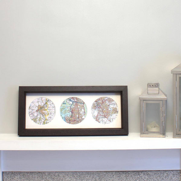 Wall Art - Trio Of Personalised Map Circles - Box Framed Trio of Personalised Map Circles - Box Framed