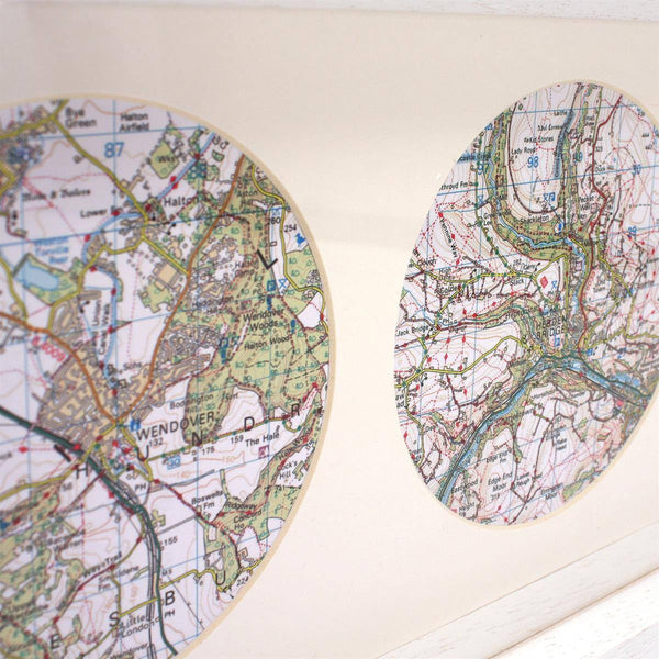 Wall Art - Trio Of Personalised Map Circles - Box Framed