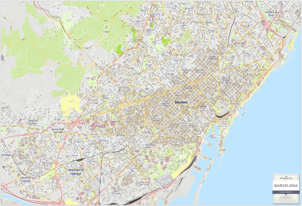 Wall Map - Barcelona Wall Map - Laminated