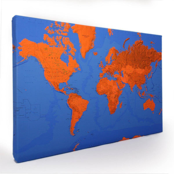 Wall Map - Duo-tone Canvas World Wall Maps