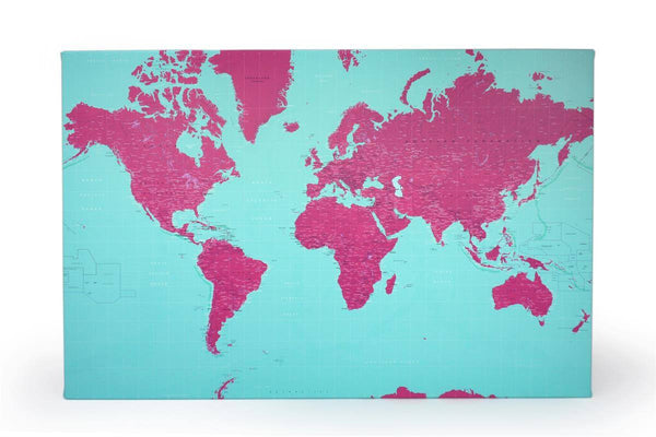 Wall Map - Duo-tone Canvas World Wall Maps Duo-tone Canvas World Wall Maps