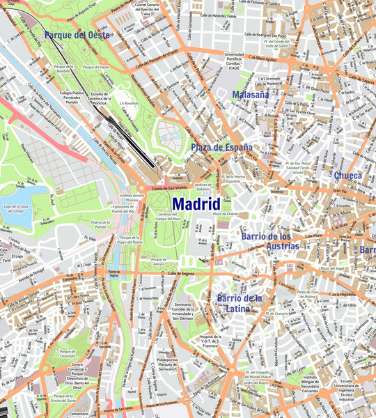 Wall Map - Madrid City Map - Laminated Madrid City Map - Laminated