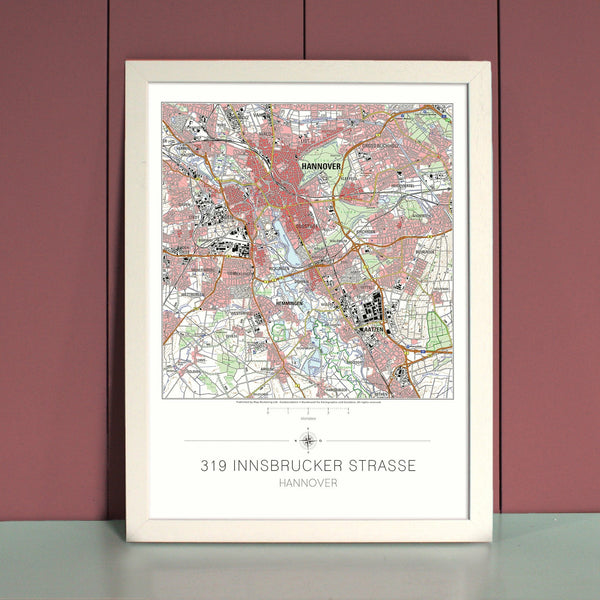 Wall Map - My Home Is Here - Personalised German Wall Map