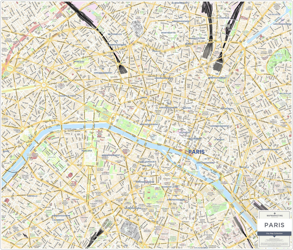 Wall Map - Paris City Map - Laminated