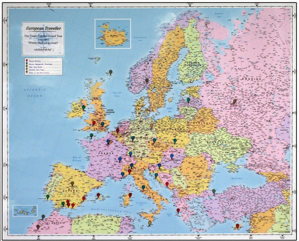 Wall Map - Personalised European Traveller Map Personalised European Traveller Map