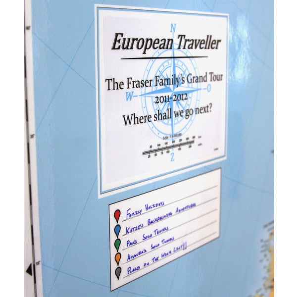 Wall Map - Personalised European Traveller Map