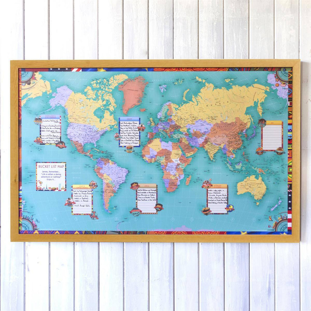 Personalised world bucket list map world map gifts butler and wall map personalised world bucket list map gumiabroncs Choice Image
