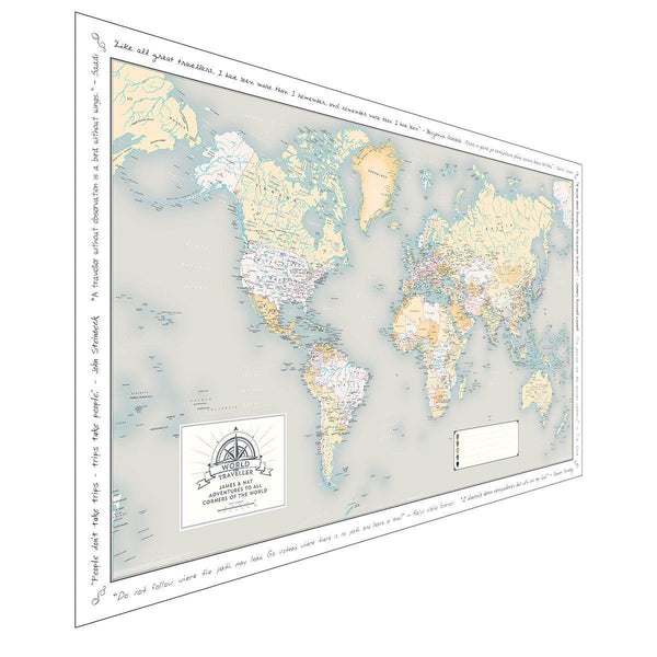 Wall Map - Personalised World Traveller Map Personalised World Traveller Map