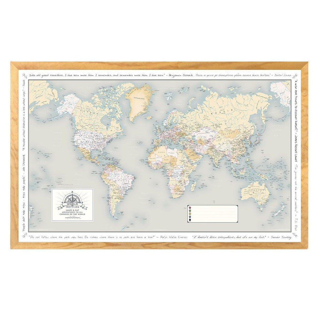 Personalised World Traveller Map - Traditional / Laminated