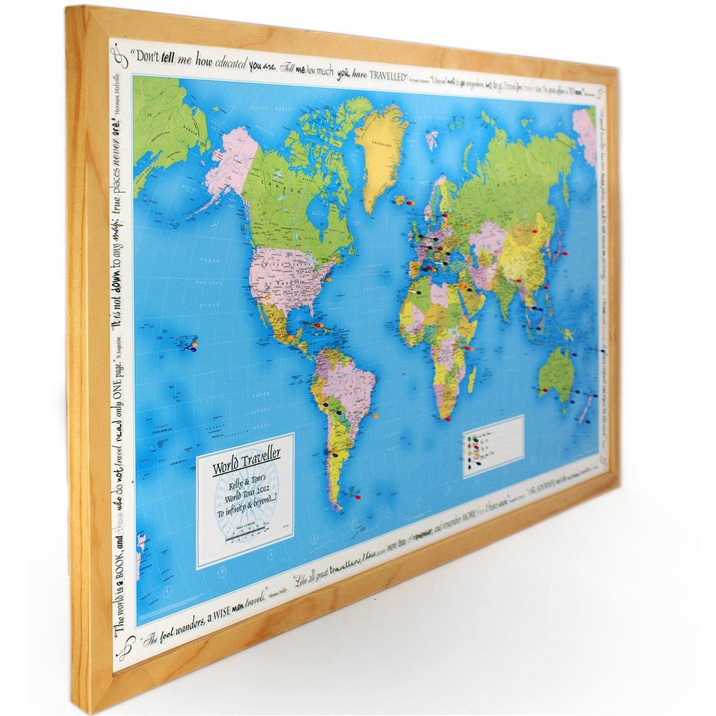 wall map personalised world traveller map