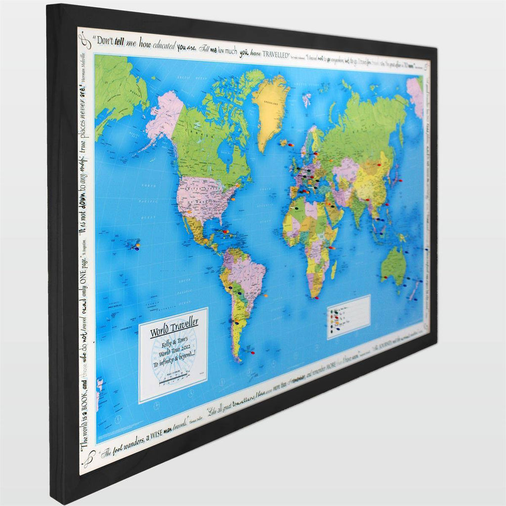 Personalised world traveller map butler and hill uk wall map personalised world traveller map gumiabroncs Choice Image