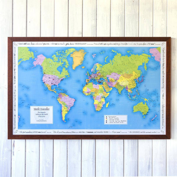 Wall Map - Personalised World Traveller Map