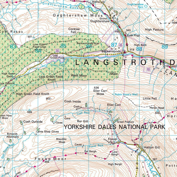 Wall Maps - Yorkshire Dales - UK National Park Wall Map Yorkshire Dales - UK National Park Wall Map
