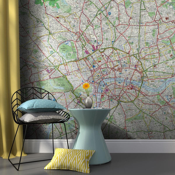 Wall Paper - Customised Map Wallpaper - London Street Mapping