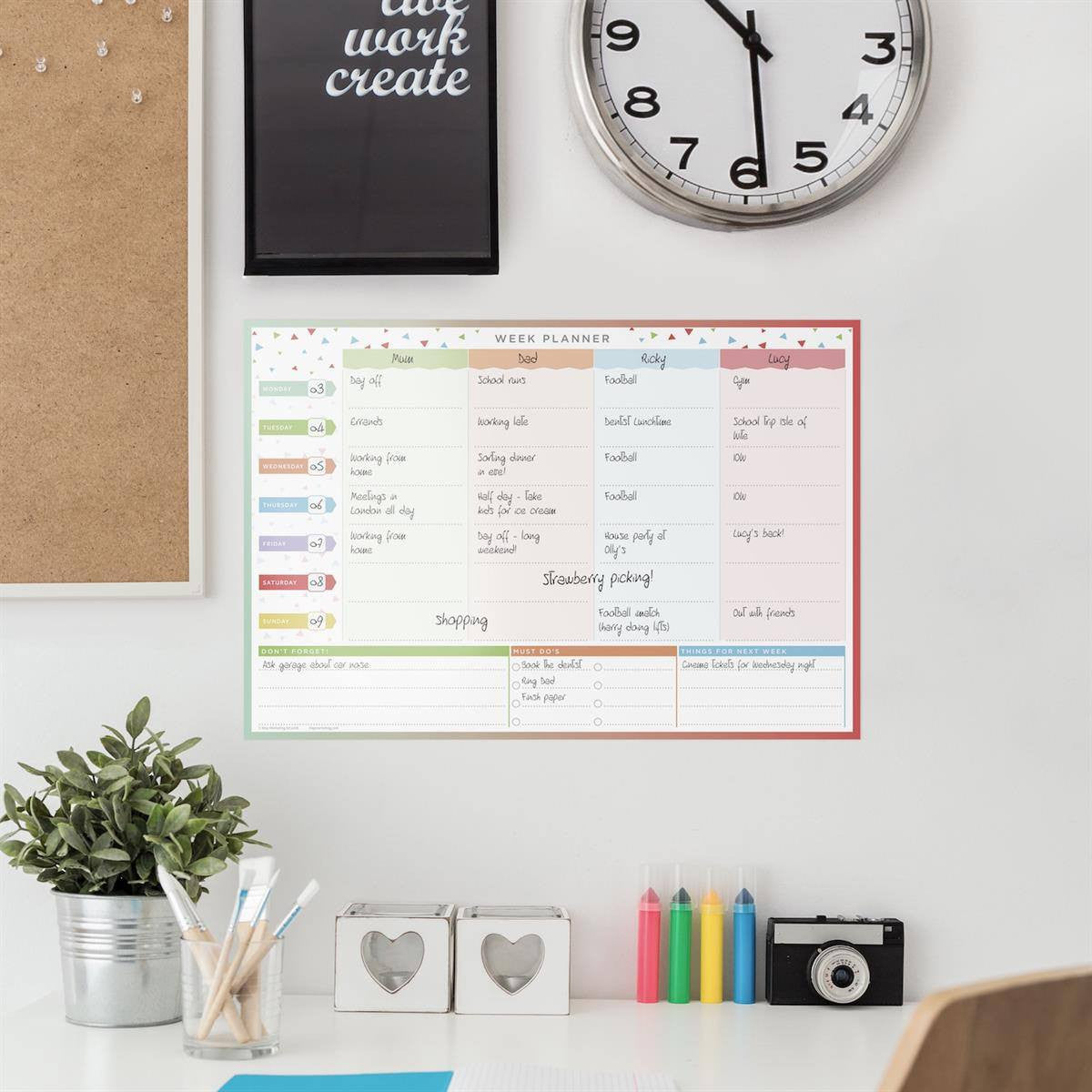 #4! Family Week Planner - Laminated Wall Planner
