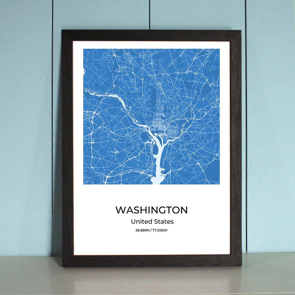 Washington City Map Wall Art