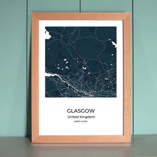 Glasgow City Map Wall Art Glasgow City Map Wall Art Poster with Wooden Frame