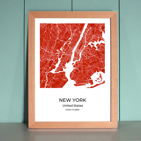New York City Map Wall Art New York City Map Wall Art Poster with Wooden Frame