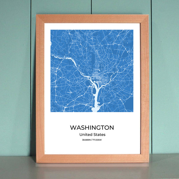 Washington City Map Wall Art Washington City Map Wall Art Poster with Wooden Frame