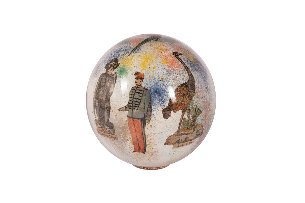 "Hand painted glass sphere ""Le jardin d'acclimatation"""